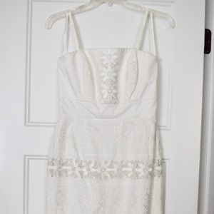 Fitted White Floral Lace & Embroidered Dress
